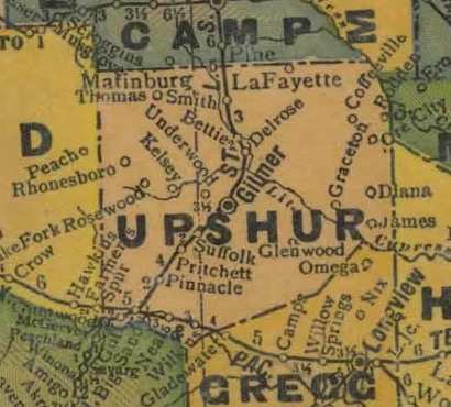 TX Upshur County  1940s map