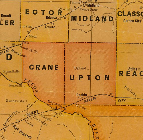 Upton County TX 1920s map