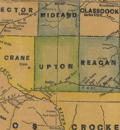 Upton County TX 1940s map