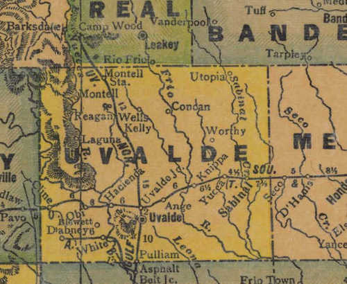 TX Uvalde County 1940s Map