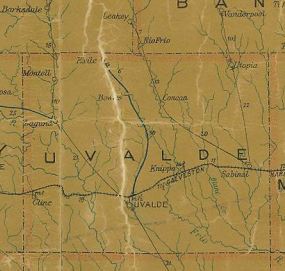 TX Uvalde  County 1907 Postal Map