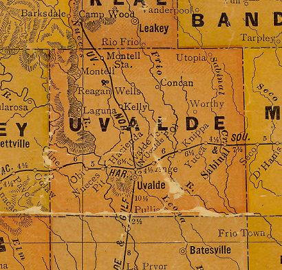 Uvalde County Texas 1920s map