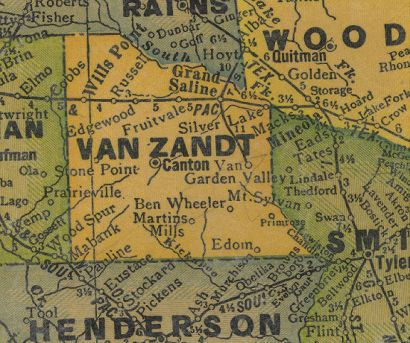 TX  Van Zandt County 1940s Map