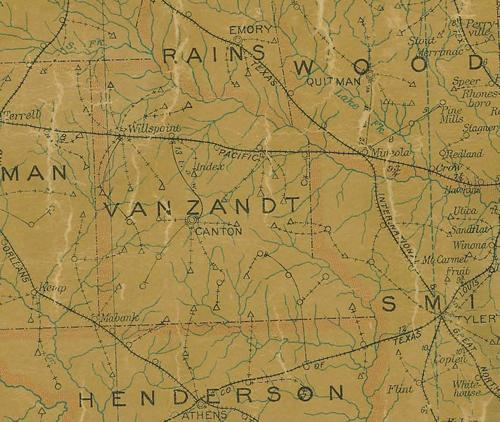 TX Van Zandt County 1907 Postal Map
