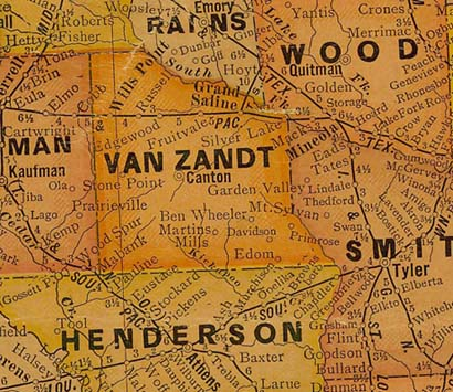 TX  Van Zandt County 1920s Map
