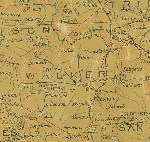 Walker County TX 1907 Postal Map