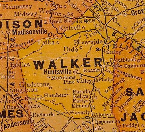 TX Walker County 1920s Map
