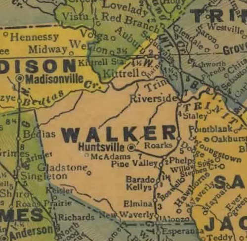 TX Walker County 1940s Map