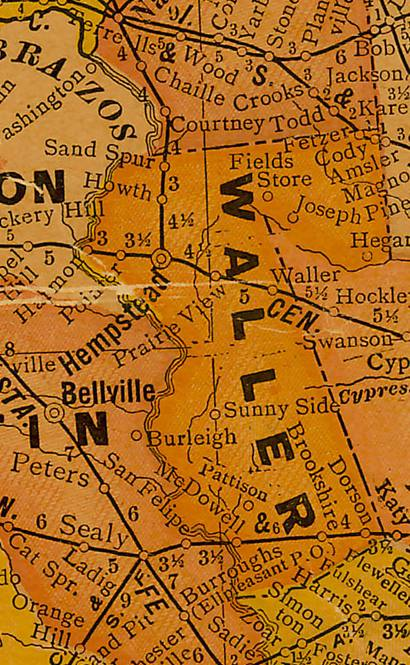 Waller County Texas 1920s map
