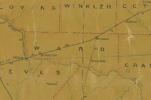 Ward County TX 1907 postal map