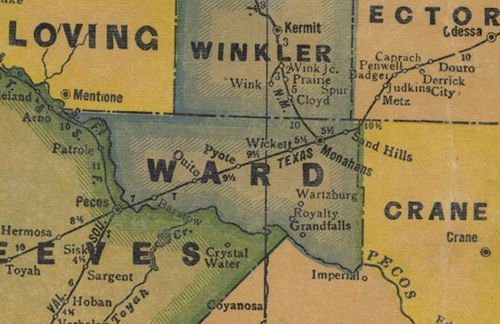 Ward County TX 1940s map