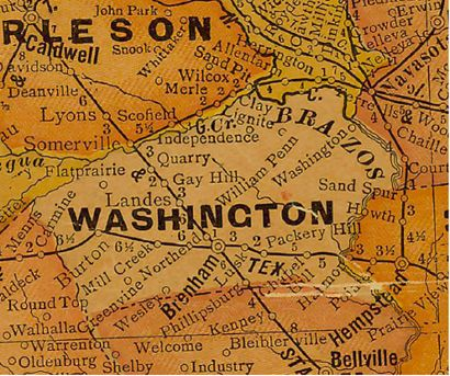 Washington County Texas 1920s map