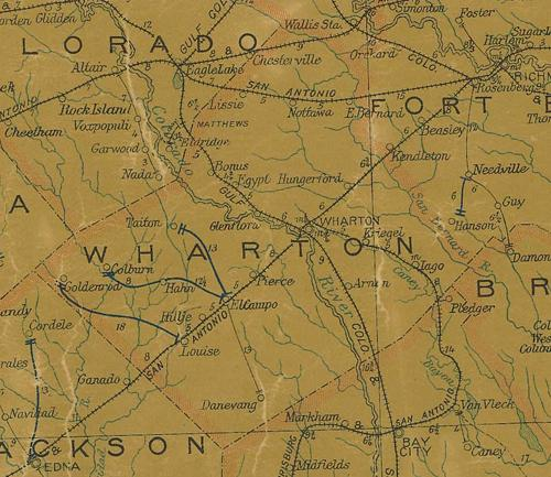 TX  Wharton County 1907 Postal Map