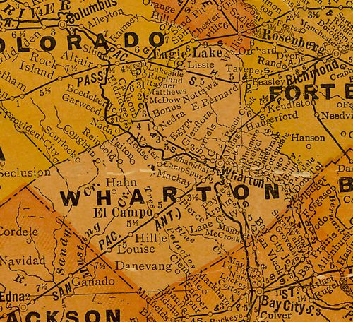 Wharton County Texas 1920s map