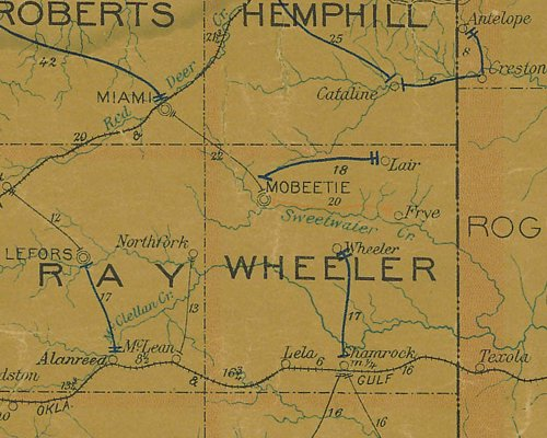Wheeler County TX 1907 postal map