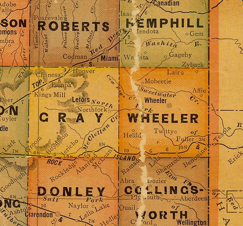 Wheeler County TX 1920s map