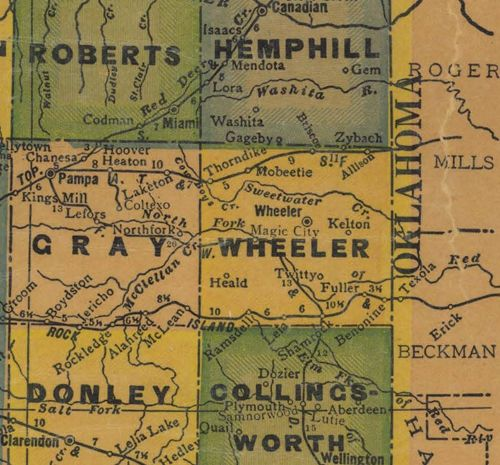 Wheeler County TX 1940s map