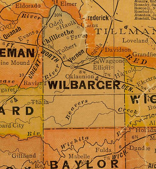 TX Wilbarger County 1920s Map