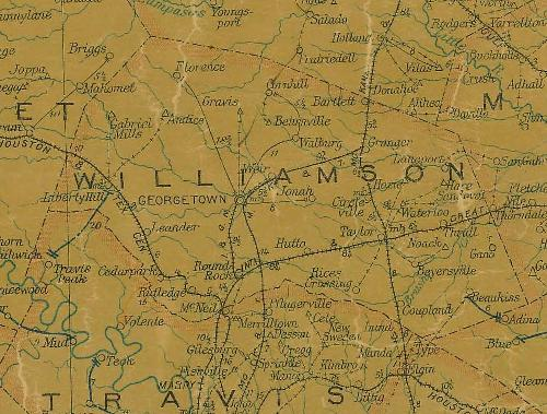 Williamson County TX 1907 Postal Map