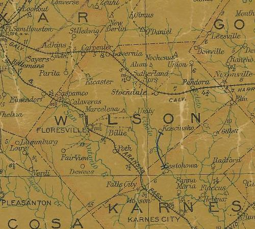 TX Wilson  County 1907 Postal Map