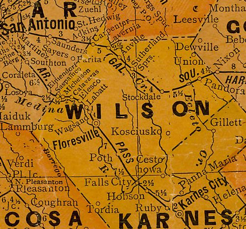 TX Wilson County 1920s Map