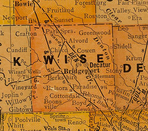 TX Wise County 1920s Map