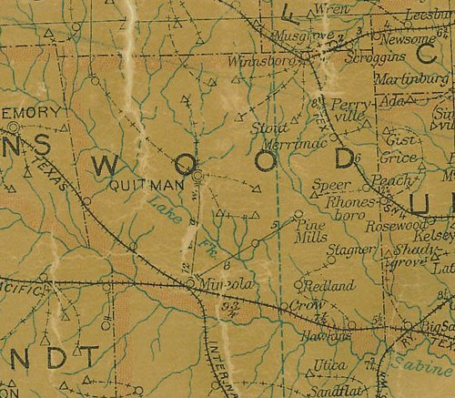 Wood County Texas  1907 postal map