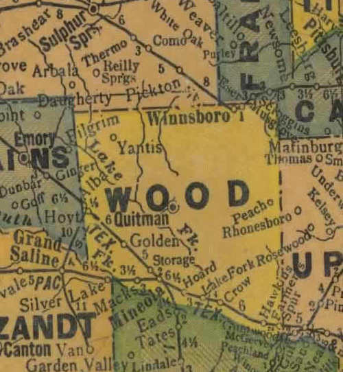 Wood County Texas 1940s map