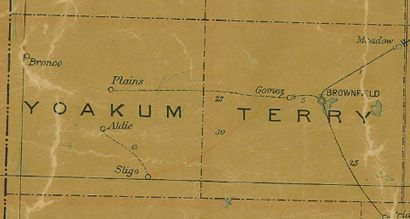Yoakum County Texas 1907 Postal Map
