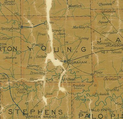 TX  Young County 1907 Postal Map