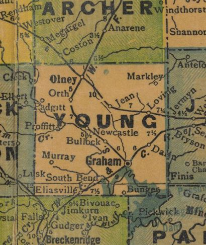TX  Young County 1940s map