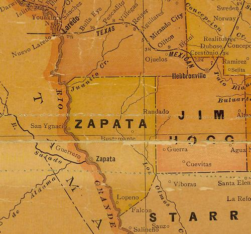 TX Zapata County 1920s Map