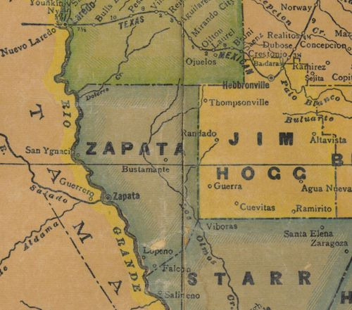 TX Zapata  County 1940s Map