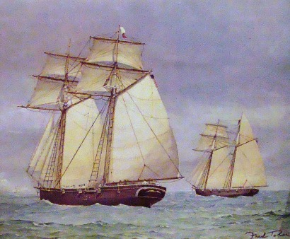 Painting of San Bernard and San Jacinto Schooners-of-war, Rockport TX Maritime Museum exhibit