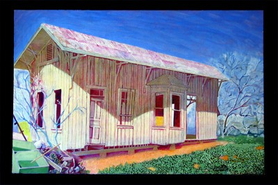 Lytle Texas depot, painting by Jacinto Guevara