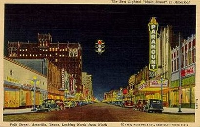 Amarillo Texas Polk Street night scene postcard