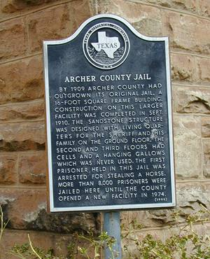 Former Archer County jail historical  marker,  Archer City Texas