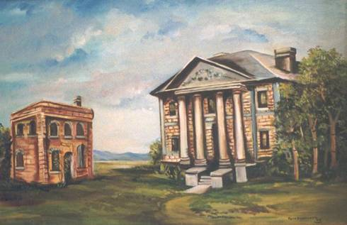 Oil painting of old Glasscock  county  jail/courthouse and current  courthouse