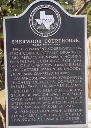 Sherwood TX -  Irion CountyCourthouse Historical Marker