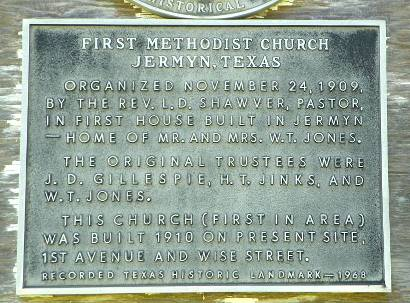 Jermyn TX First Methodist Church Marker