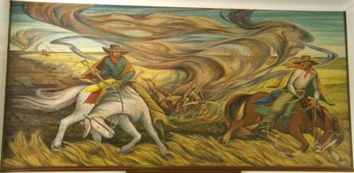 Brownfield TX WPA Mural - Ranchers of the Panhandle Fighting Prairie Fire with Skinned Steer by Frank Machau