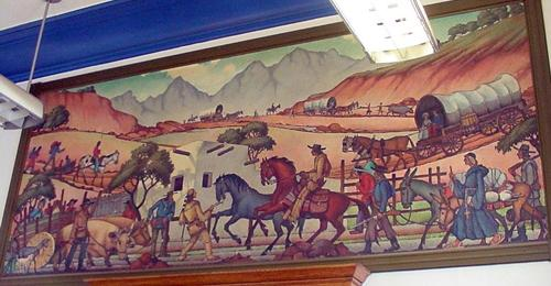 Lockhart Texas Post Office Mural - The Pony Express Station by John Walker - Santa Fe Trail