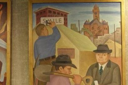 "Post Office mural ""Rebuilding of paris"" shows old courthouse"