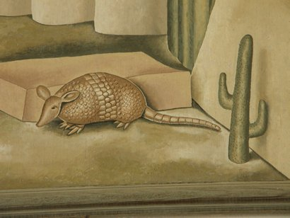 "Armadillo and cactus, Teague TX PO mural ""Cattle Round-up"" detail"