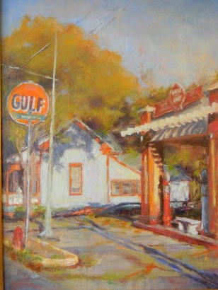 Fayetteville TX - Painting of Gulf Station By Janice McCubbin