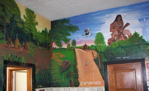 Cherokee County mural of Caddo & Cherokee Indians, in Rusk Texas
