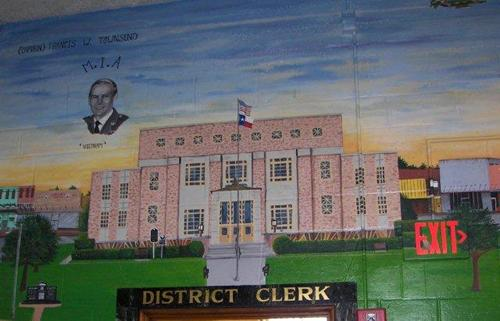 Mural of Cherokee County  courthouse, Rusk,  Texas