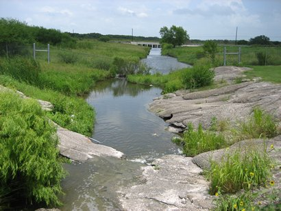 Woman Hollering Creek as it flows southeast from source ponds