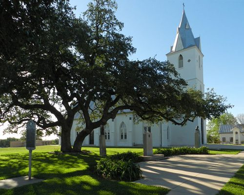 Panna Maria TX historic oak and Immaculate Conception Church