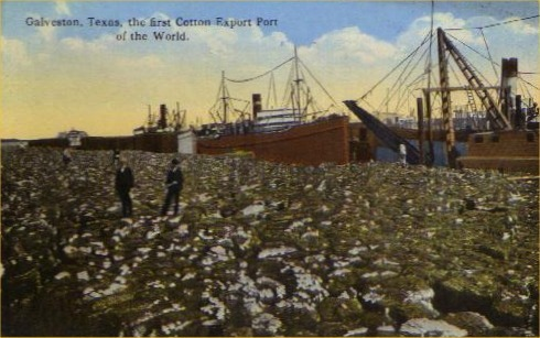 Galveston, Texas, the first cotton export port of the world